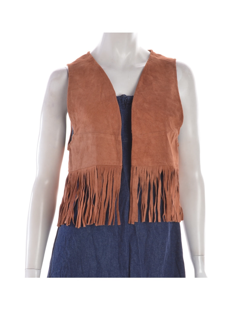 Beyond Retro Label Brown Fringe Waistcoat