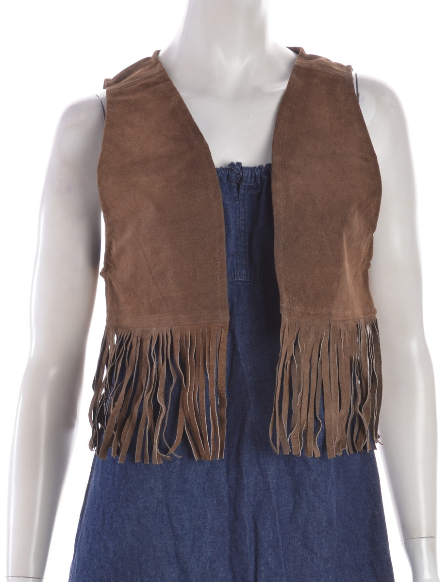 Beyond Retro Label Dark Brown Fringe Waistcoat