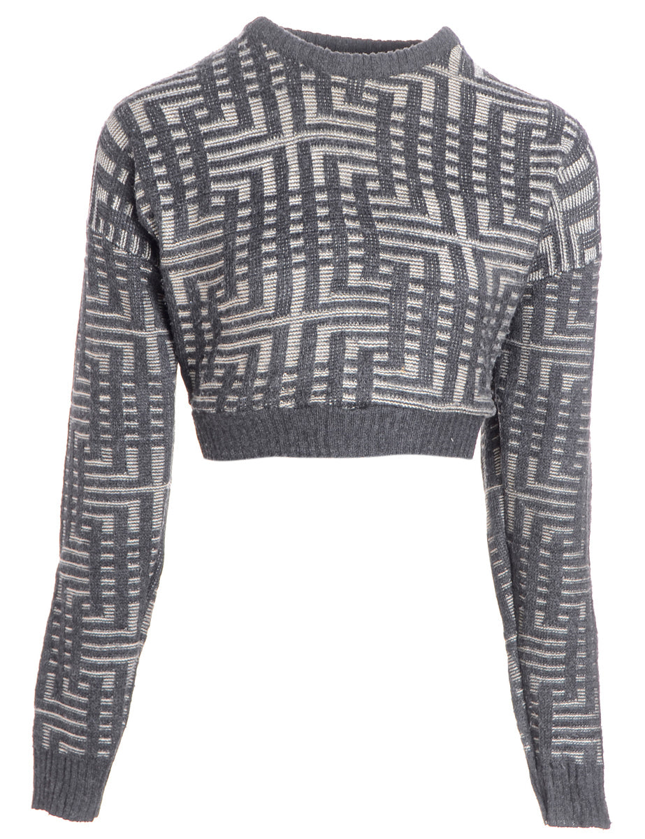Label 80s Graphic Pattern Jumper - Knits - Beyond Retro
