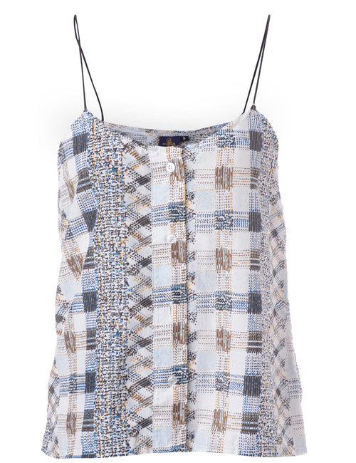 Label Abstract Print Blouse Slip Top