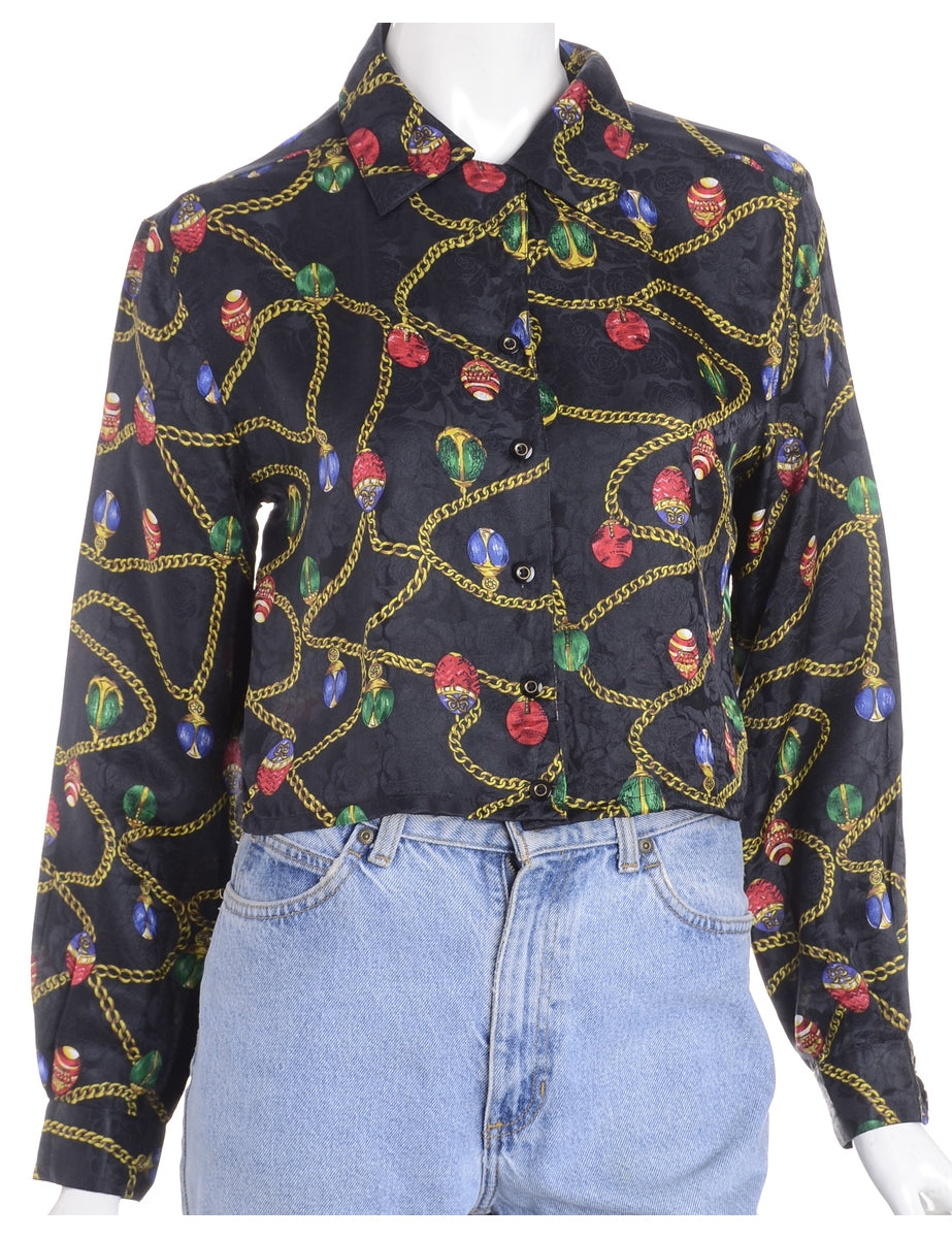 Beyond Retro Label Label Claire Cropped Long Sleeve Printed Shirt