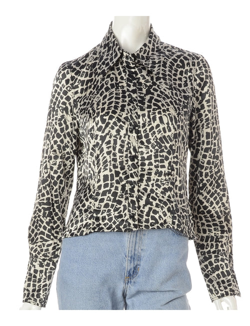 Label Claire Cropped Long Sleeve Printed Shirt
