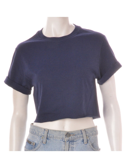 Label Cropped Bell Roll Sleeve Navy T-Shirt