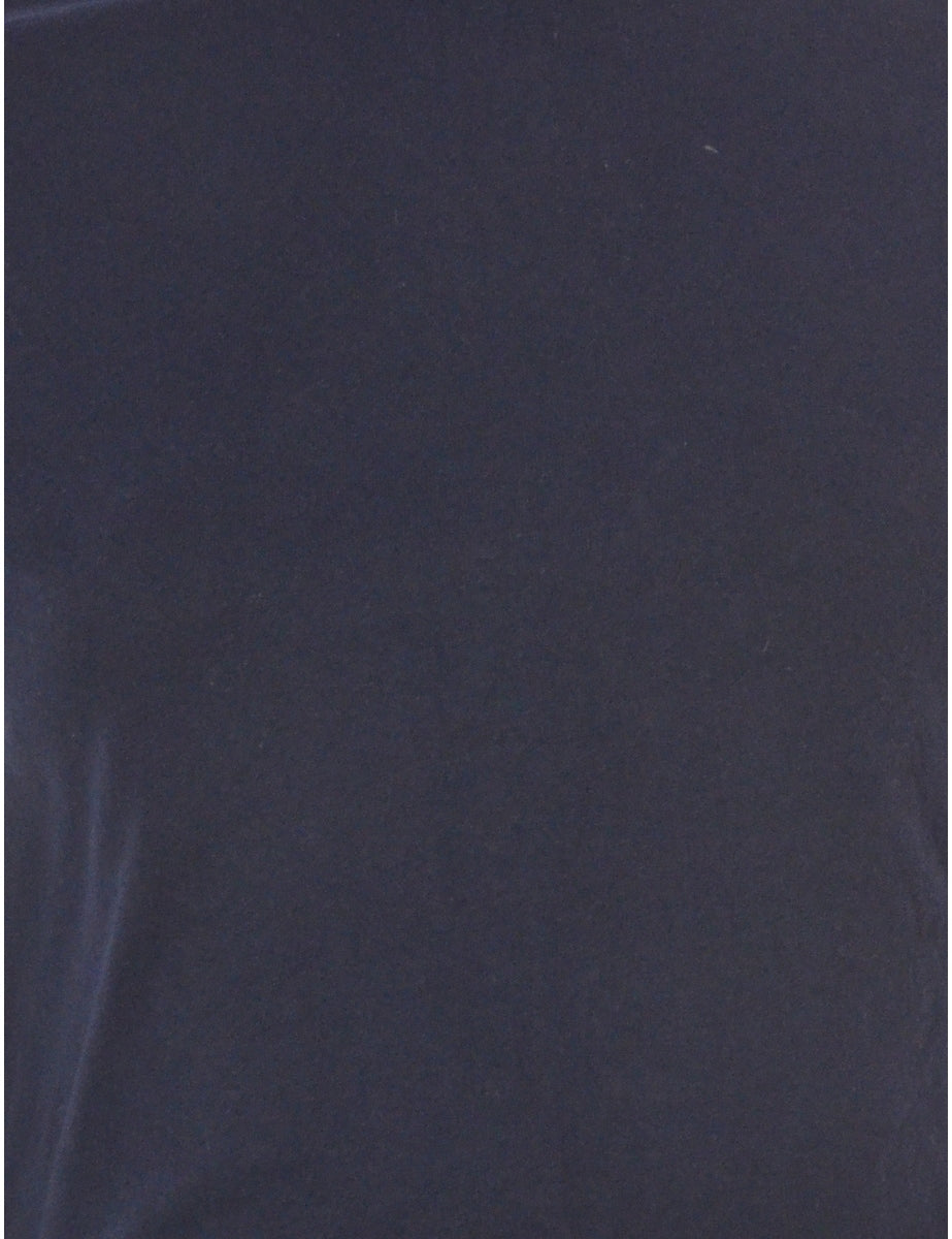 Beyond Retro Label Label Cropped Bell Roll Sleeve Navy T-Shirt