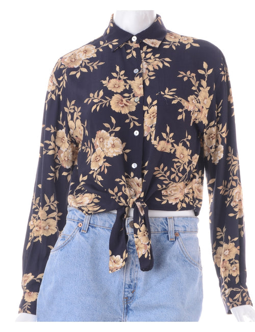 Label Cropped Jessie Tie Front Patterned Shirt