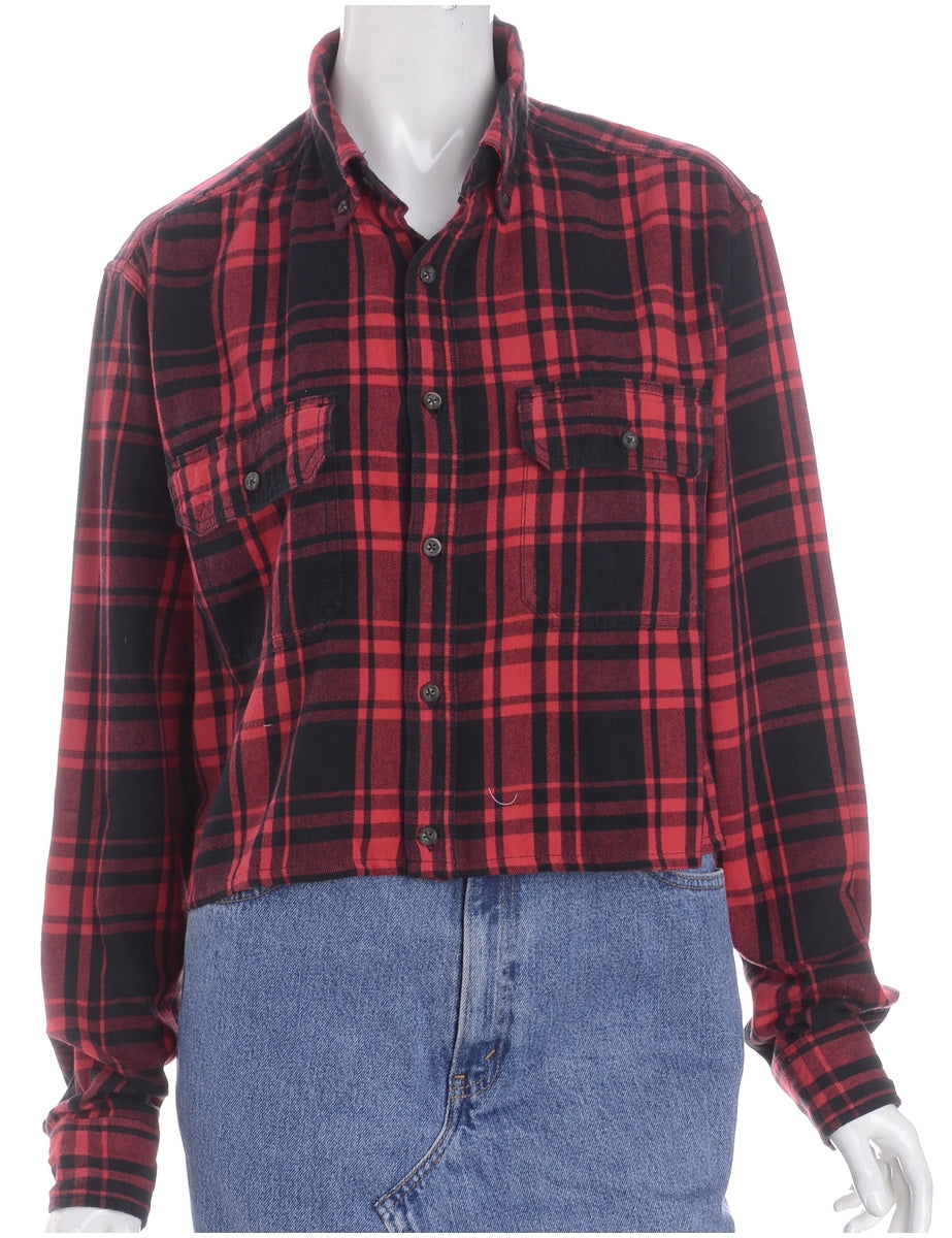 Beyond Retro Label Label Cropped Long Sleeve Flannel Shirt