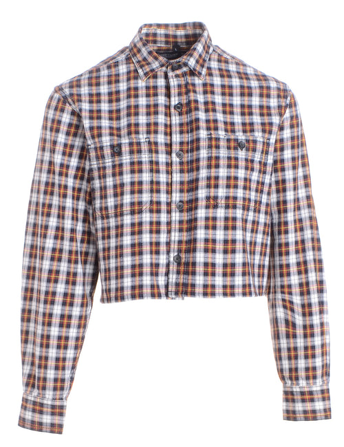 Label Cropped Long Sleeve Flannel Shirt