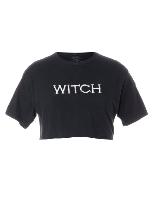 Label Embroidered Witch Crop Top