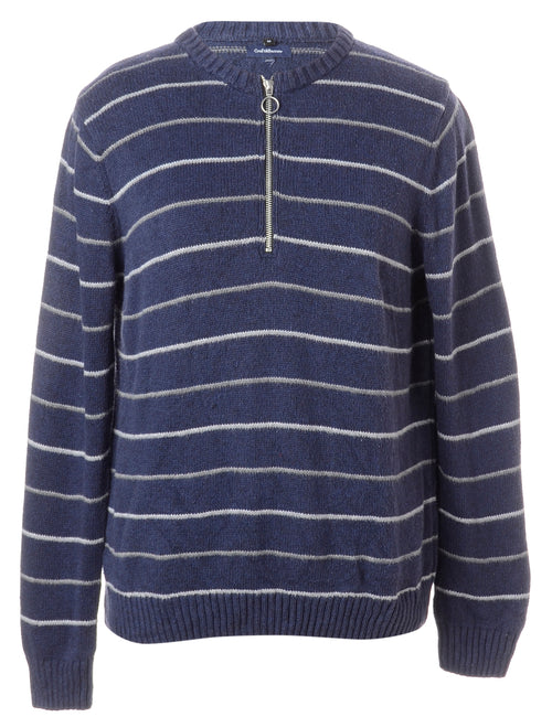 Label Navy Zip Front Knitted Jumper