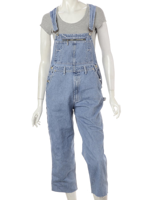 Label Pinafore Cropped Dungarees
