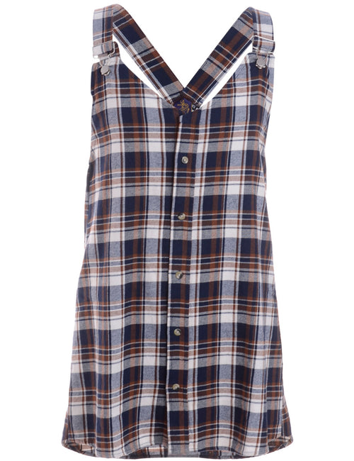 Label Plaid Pinafore Shirt Dress