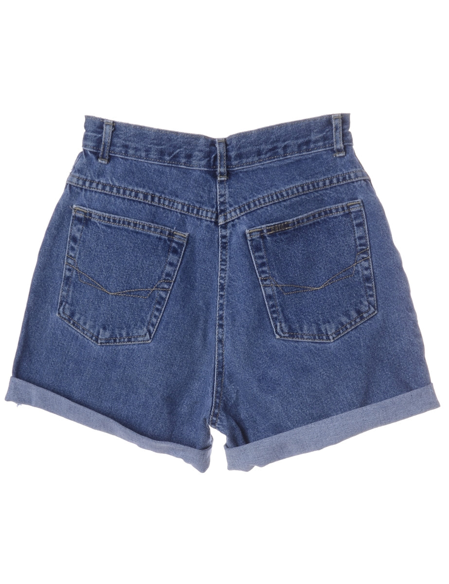 Beyond Retro Label Label Roll Hem Indigo Denim Shorts
