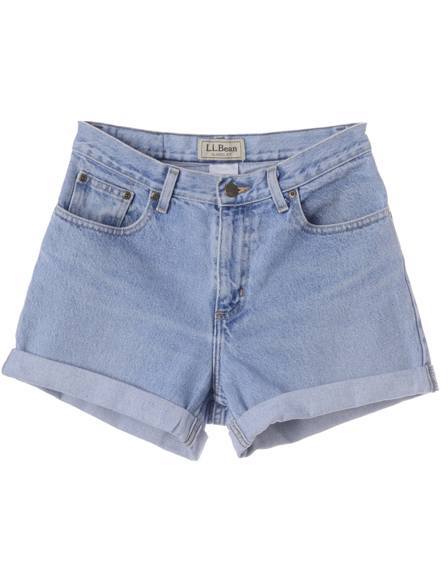 Beyond Retro Label Label Roll Hem Light Wash Denim Shorts