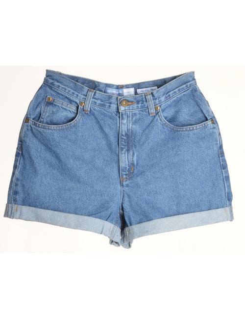 Label Rolled Hem Stone Wash Denim Shorts