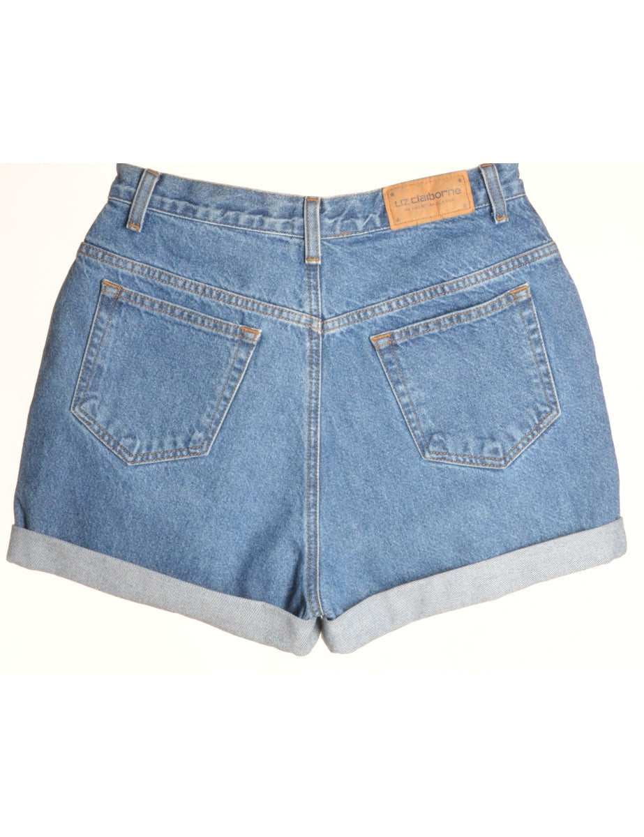 Beyond Retro Label Label Rolled Hem Stone Wash Denim Shorts