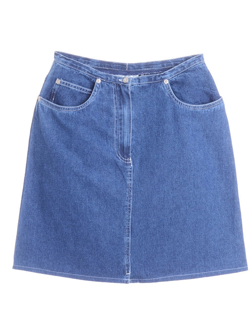Label Short Denim Skirt