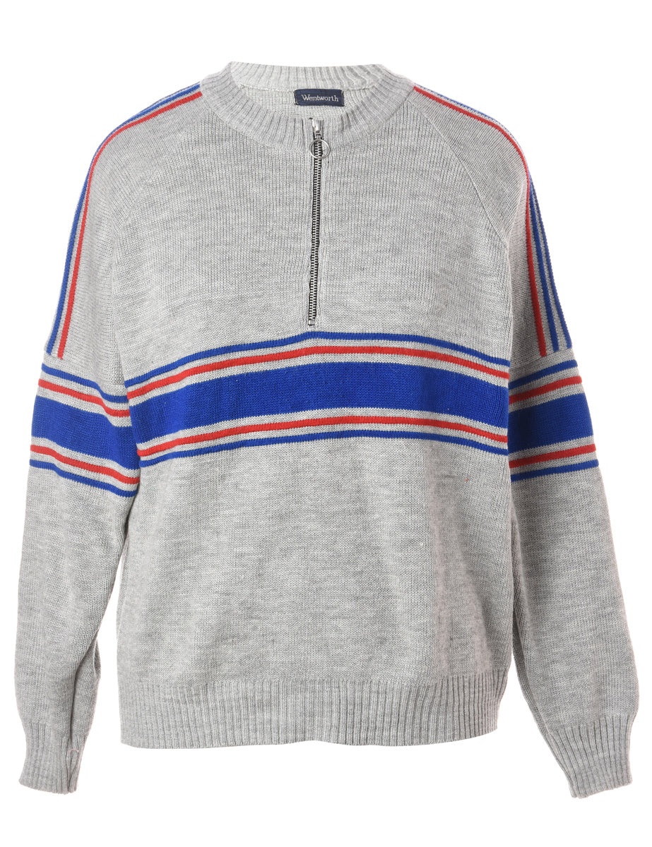 Beyond Retro Label Label Zip Front Knitted Jumper
