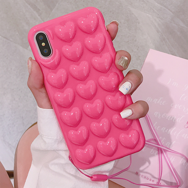 buy online d416c 3ce7b 3D Heart Case with Strap for iPhone X