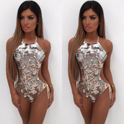 Sequin Cut-Out One Piece Swimsuit
