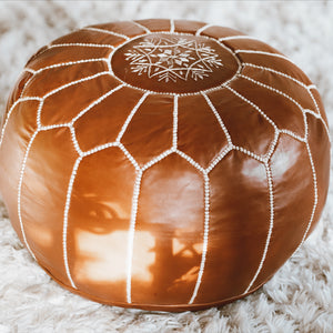 Vegetable-Tanned Leather Round Pouf