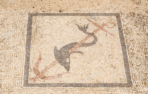 Mosaic of dolphin around trident - christianity