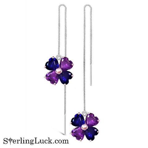 Brilliant Clover Thread Earrings