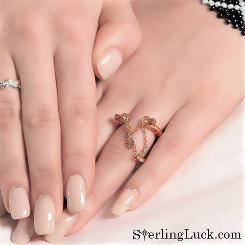 Triply Charmed Horseshoe Ring