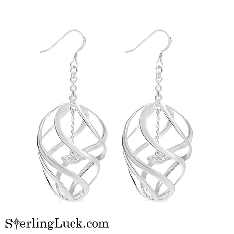 Spiral Rays Dolphin Charm Earrings