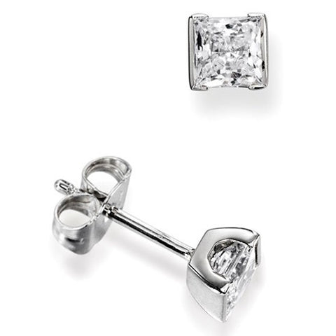 Half Bezel Princess Diamond Studs