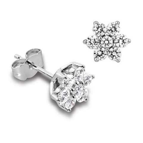 Diamond Flower Cluster Studs