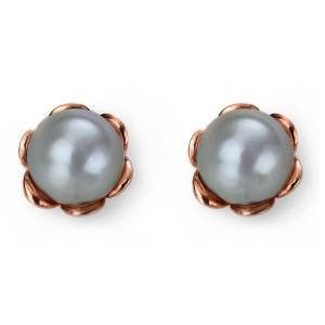 Rose Flower Pearl Studs