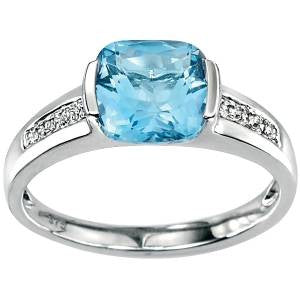 Blue Topaz & Diamond Cushion Ring