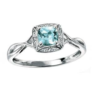 Aquamarine & Diamond Twist Ring