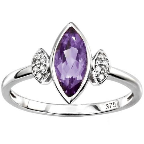 Amethyst & Diamond Marquise Ring