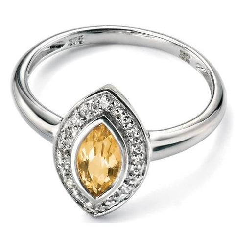 Citrine & Diamond Marquise Ring