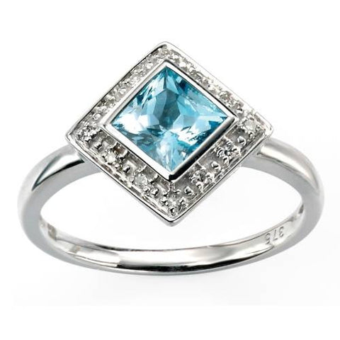 Blue Topaz & Diamond Princess Ring