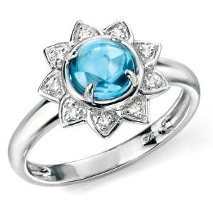 Blue Topaz & Diamond Flower Ring