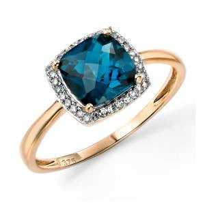 London Blue Topaz & Diamond Halo Ring