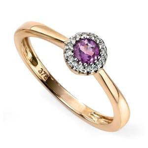 Amethyst & Diamond Cluster Ring