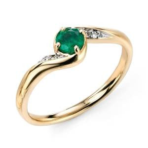 Emerald & Diamond Crossover Ring