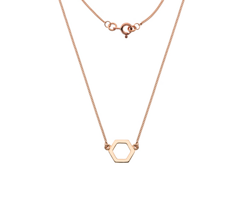 Rose Gold Hexagon Necklace