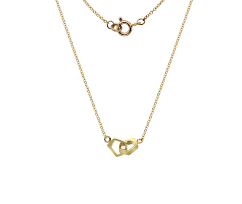 Double Gold Pentagon Necklace