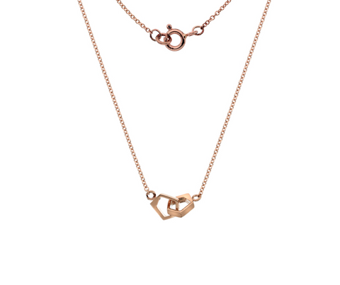 Double Rose Gold Pentagon Necklace
