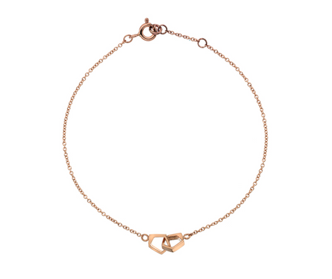 Double Rose Gold Pentagon Bracelet