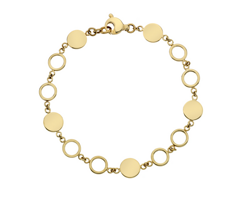 Gold Disc & Ring Bracelet