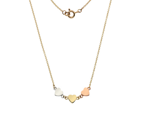 Three Gold Heart Necklace