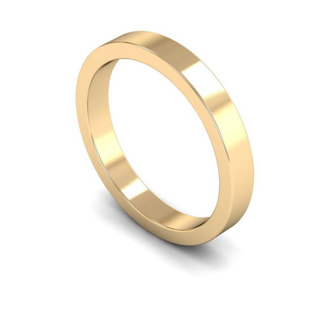 3mm 9ct Gold Flat Band