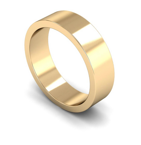 6mm 9ct Gold Flat Band