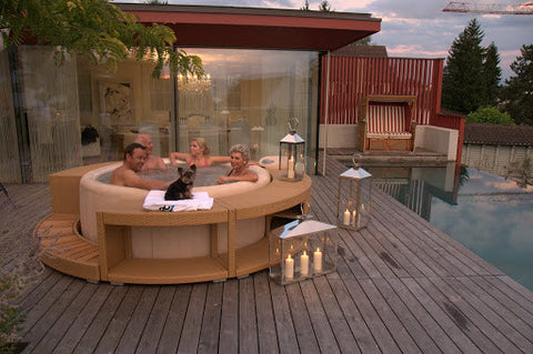 Photo of a softub set on decking