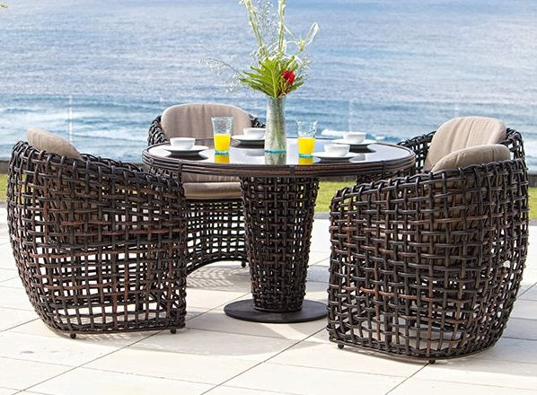 Dynasty 4 Seat Dining Set - Round Dining Table and 4 Dining Chairs